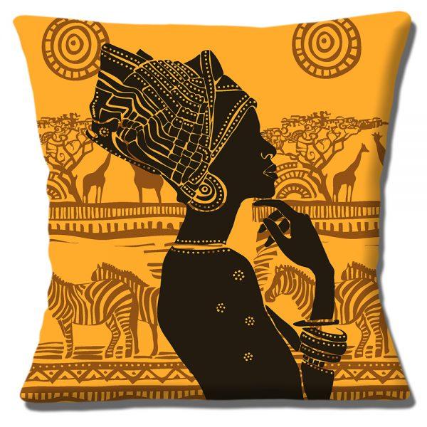 African Tribal Lady Cushion or Cushion Cover Silhouette Scene Zebra Giraffe