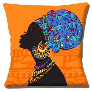 African Tribal Lady Cushion or Cushion Cover Blue Headdress Jewellry