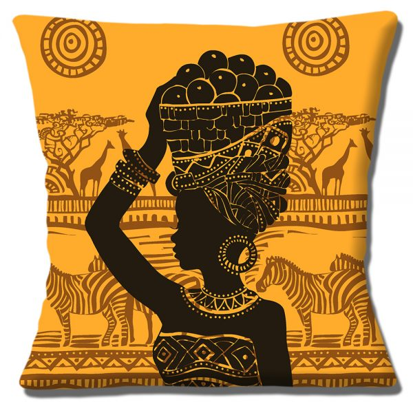 African Tribal Lady Cushion or Cushion Cover Silhouette Carrying Fruit