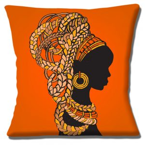 African Tribal Lady Cushion or Cushion Cover Hair Braids Jewellry Orange
