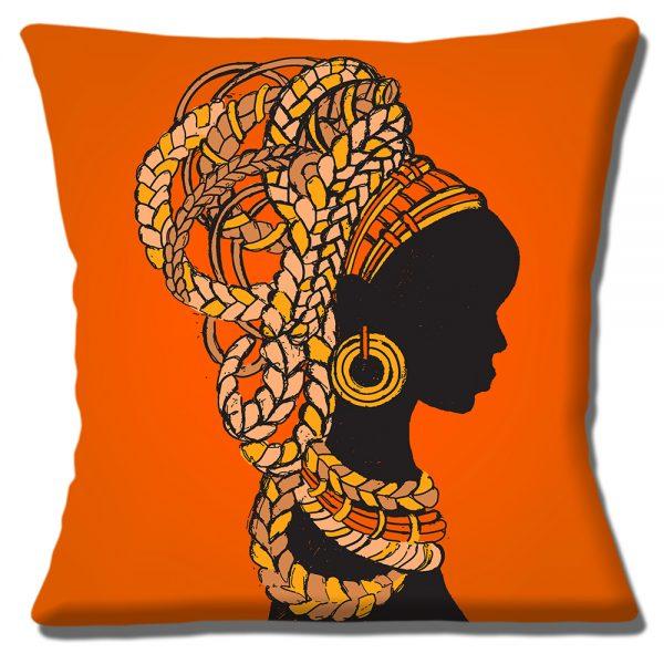 African Tribal Lady Cushion or Cushion Cover Hair Braids Jewellry Orange