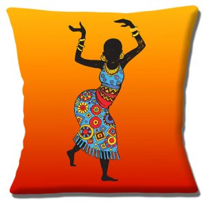 African Tribal Lady Dancer Cushion or Cushion Cover Yellow Orange