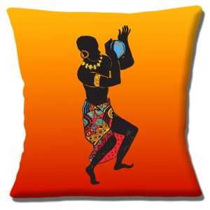 African Tribal Male Dancer Cushion or Cover Yellow Orange
