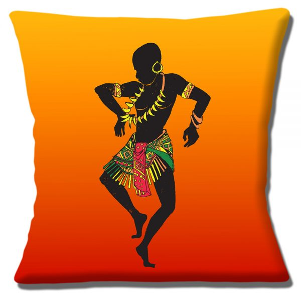 African Tribal Male Dancer Cushion or Cushion Cover Bone Necklace
