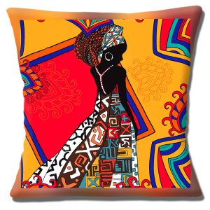African Tribal Lady Cushion or Cushion Cover Silhouette Multicolour Red Orange