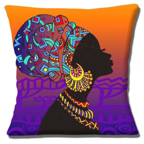 African Tribal Lady Cushion or Cushion Cover Orange Purple