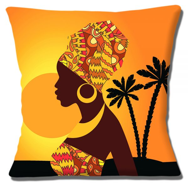 African Tribal Lady Cushion or Cushion Cover Sunset Palm Trees
