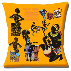 African Tribal Cushion or Cushion Cover Drummers Dancers Musicians