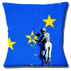 Banksy Graffiti Art Cushion or Cover Only Removal of EU Star Brexit