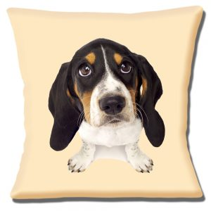 Basset Hound Puppy Dog Cushion or Cushion Cover Looking Up Cream