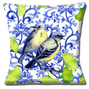 Garden Birds Cushion or Cushion Cover Blue Yellow on White