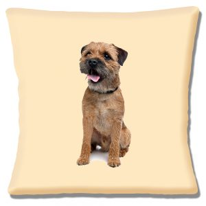 Border Terrier Dog Cushion or Cushion Cover Cream Looking to Left