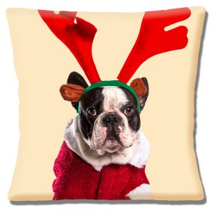 Boston Terrier Dog Cushion or Cushion Cover Antlers Santa Coat