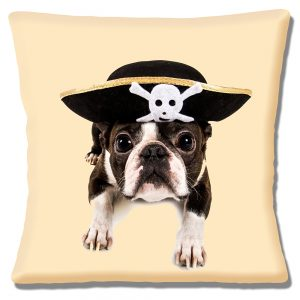 Boston Terrier Puppy Dog Cushion or Cushion Cover Pirate Hat