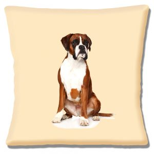 Boxer Dog Cushion or Cushion Cover Young Dog Sitting Down