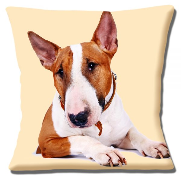 Bull Terrier Dog Cushion or Cushion Cover Adult Tan White