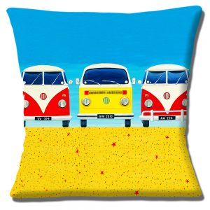 Three Camper Vans Cushion or Cushion Cover on Sandy Beach