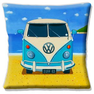 Blue Camper Van Cushion or Cushion Cover Vintage Retro
