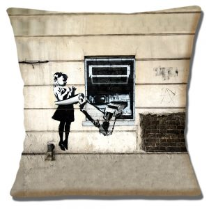 Banksy Graffiti Art Cushion or Cushion Cover Cash Machine Mechanical Arm