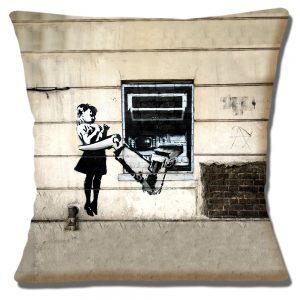 Banksy Graffiti Art Cushion or Cushion Cover Cash Machine Mechanical Arm
