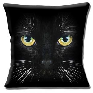 Black Cat Cushion or Cushion Cover Face Yellow Green Eyes