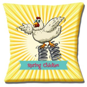 Funny Spring Chicken Cushion or Cushion Cover Yellow