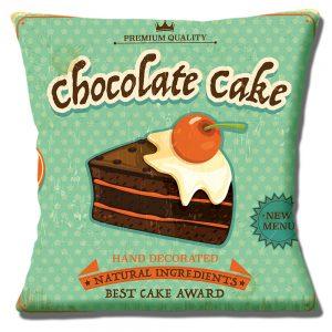 Chocolate Cake Slice Cushion or Cushion Cover Vintage Mottled