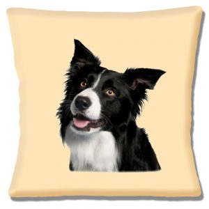 Border Collie Dog Cushion or Cushion Cover Cream Head to Side