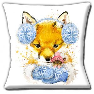 Fox Mouse Cushion or Cushion Cover Winter Woollies