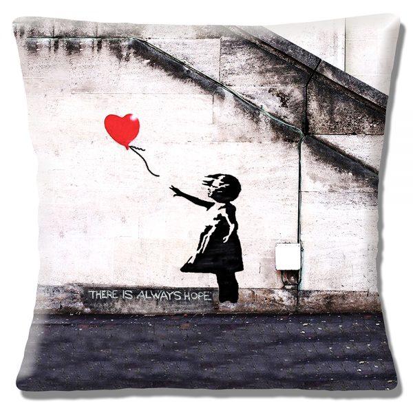 Banksy Graffiti Art Cushion or Cushion Cover Hope Girl Red Balloo