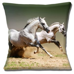 Two Grey Horses Cushion or Cushion Cover Galloping on Sandy Grassland