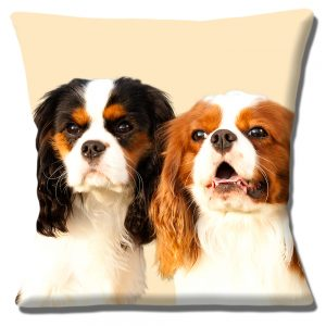 Two Adult King Charles Cavalier Spaniels Cushion or Cover Only Cream