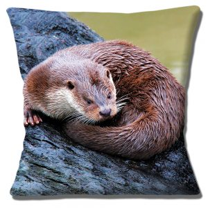 Otter Cushion or Cushion Cover wild animal resting on log