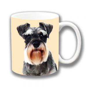 German Miniature Schnauzer Dog Coffee Mug Ceramic on Cream