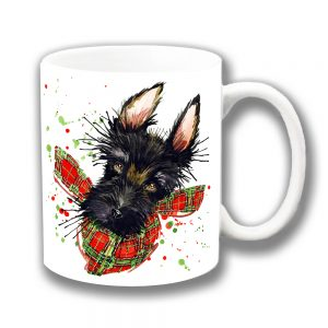 Black Scottie Dog Coffee Mug Red Green Tartan Scarf Ceramic