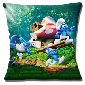 Three Blue Smurfs Cushion or Cushion Cover Film Characters with Ladder