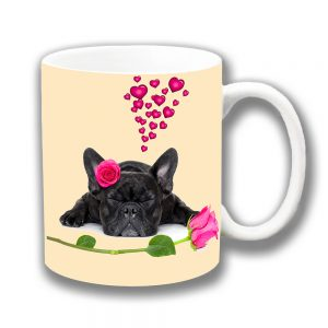 French Bulldog Coffee Mug Pink Hearts and Roses Black Dog