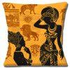African Tribal Ladies Cushion or Cushion Cover Lions Giraffe Zebra