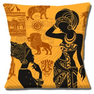 African Tribal Ladies Cushion or Cushion Cover Lions Giraffe Zebra