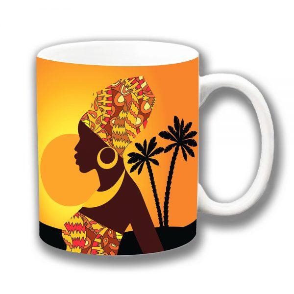 African Tribal Lady Coffee Mug Sunset Palm Trees