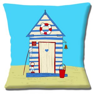 Summer Beach Hut Cushion or Cushion Cover Blue white Striped