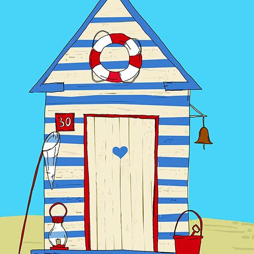 Summer Beach Hut Cushion or Cushion Cover Blue white Striped