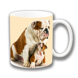English Bulldog Coffee Mug Puppy Looking Up at Dad