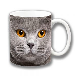 Grey Cat Coffee Mug with Amber Eyes Ceramic Tea Mug 10oz