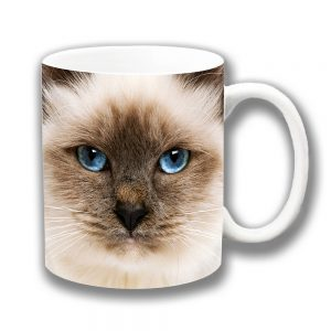 Ragdoll Cat Coffee Mug Face Blue Eyes 10oz Ceramic