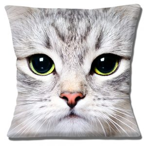 Grey Kitten Cat Cushion or Cushion Cover Green Eyes