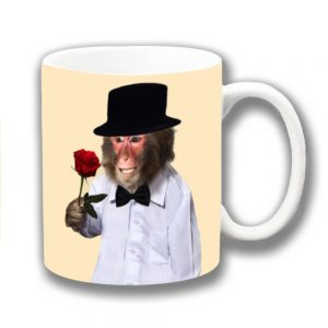 Monkey Coffee Mug Red Rose Top Hat Bow Tie Romance