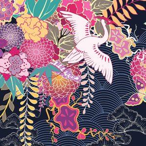 Japanese Crane Cushion or Cushion Cover Garden Butterflies
