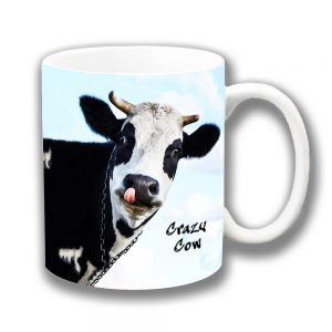 Crazy Cow Coffee Mug Funny Message Black White