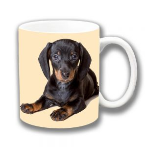 Dachshund Dog Coffee Mug Black Tan Brown Cream